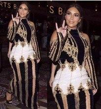 2019 sexy fora do ombro vestido de pista kim kardashian feminino luxuoso miçangas maxi longo vestido de baile vestidos de festa