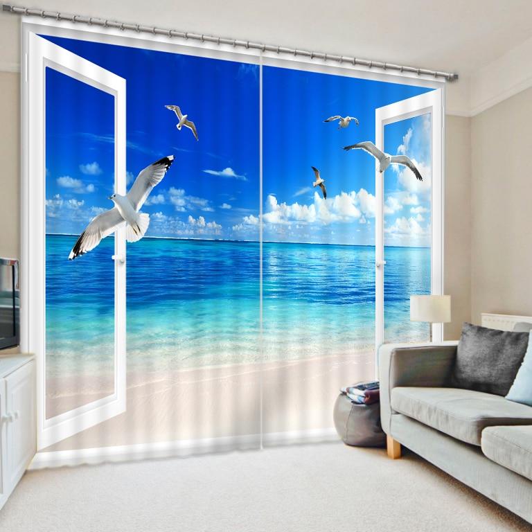 Cortinas estampadas transparentes cortinas para sala de estar dormitorio exterior cielo azul gran mar paisaje niños cortina cubierta