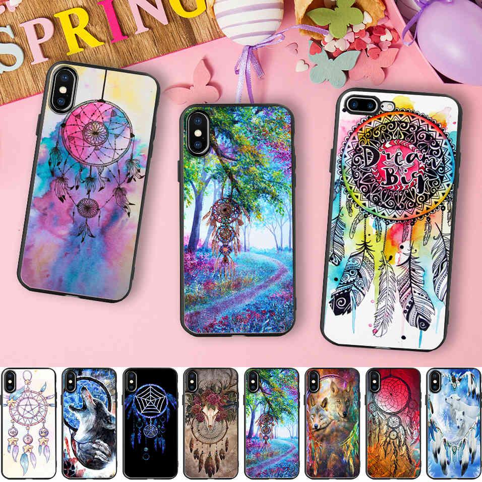 Funda de teléfono de silicona suave negra con pintura de atrapasueños vívido Minason para iPhone 10X5 S 5S SE 6 6S 7 8 Plus 7plus 6splus