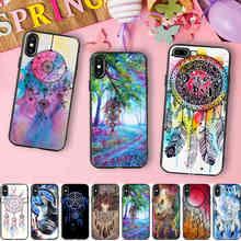 Minason Vivid Dream Catcher Painting Black Soft Silicone Phone Case for iPhone 10 X 5 S 5S SE 6 6S 7 8 Plus 7plus 6splus Cover