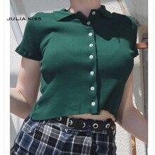 Vrouwen Korte Mouwen Turkse Button Up Crop Top Opaque Knoppen T-shirt