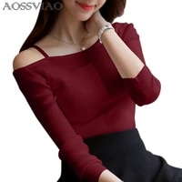aossviao 2021 off shoulder sexy women long sleeve knitted sweater solid skinny slim sweater women spring and winter pullovers