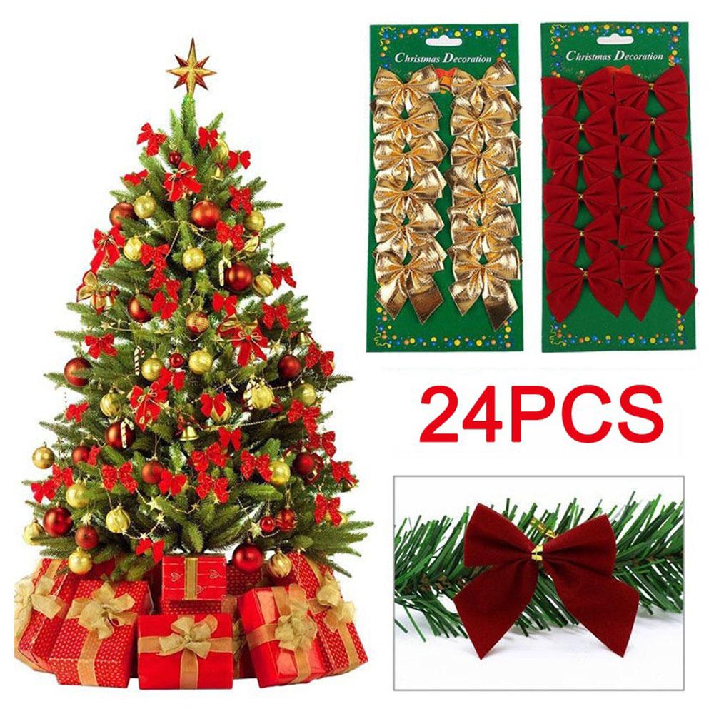 Borboleta Nó 3 Cor Decorações Da Árvore de Natal Enfeites de Natal Decorações De Natal para Casa 24 pcs Navidad Bowknot 2018 Xmas