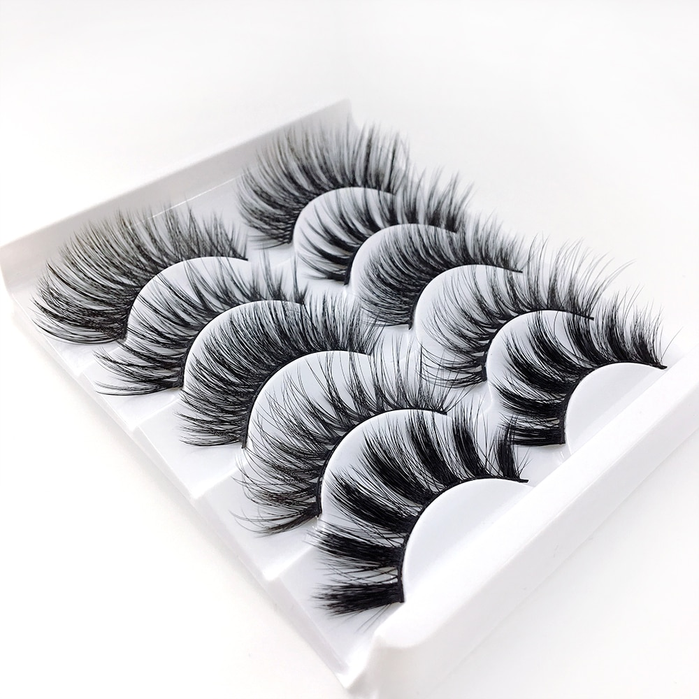 5pairs Mixed Styles False Eyelashes 3D Mink Hair Wispy Full Volume Natrual Lashes Feathery Flared Variety Pack Lashes