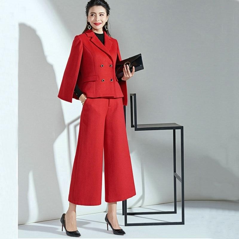 بدلة شتوية نسائية من الصوف ، بنطلون واسع الأرجل ، طقم مزاج من قطعتين ، لون أحمر ، مجموعة خريف جديدة