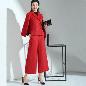Winter Red Cape Wool Suit Women New Ladys Autumn Nine Wide Leg Pants Red Fashion Temperament Two-piece Set