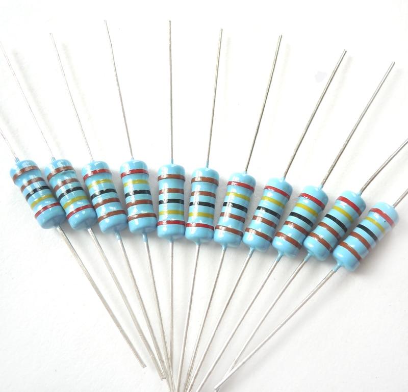 1w 2,4 k ohm 2k4 ohm 2400 ohm marca nueva 100% original fijo resistencia resistores de película metálica resistencia +/-1% (200 uds)