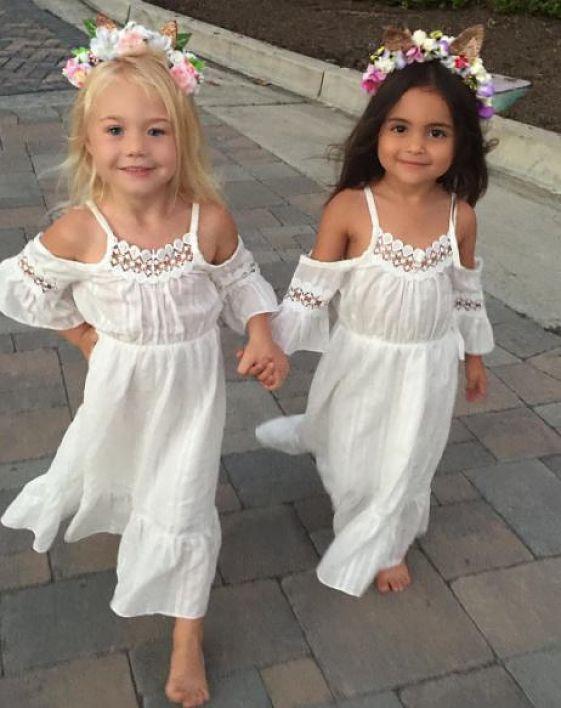 Стильное летнее платье с открытыми плечами и цветочным рисунком для маленьких девочек детское платье принцессы с цветочным рисунком для маленьких девочек праздничное длинное платье из тюля для детей
