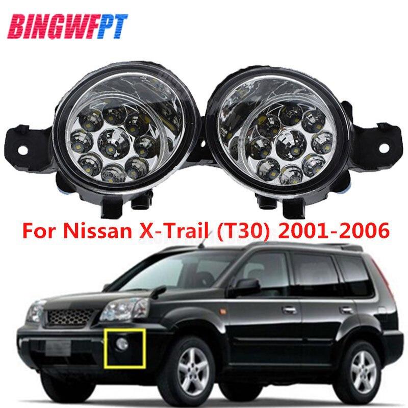 2 uds nuevo estilo de coche LED blanco amarillo luz antiniebla DRL reajuste para N-ISSAN X-TRAIL (T30) 2001-2006 lámpara halógena