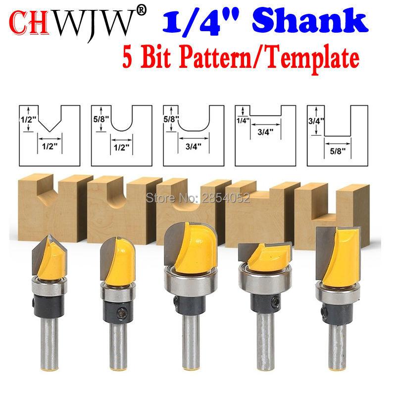 "Trim Router Bit Set - 1/4"" Shank - 5 Bit Pattern/Template Woodworking cutter Tenon Cutter for Woodworking Tools"