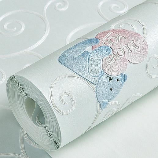 Papel tapiz con bonito oso en 3D para dormitorio de niño y niña, Fondo de TV para el hogar, amarillo, Beige, rosa y azul, rollo de papel de pared