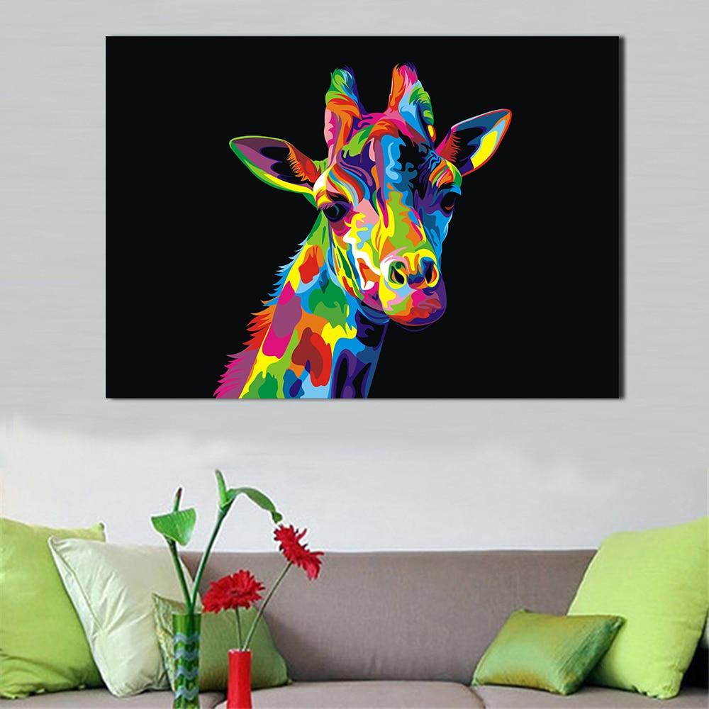 JQHYART Pop lienzo arte pintura de La jirafa colorida imágenes de pared...