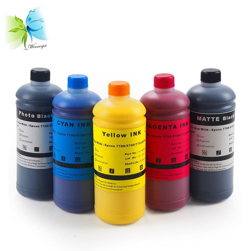 WINNERJET 1000 ml/botella de 5 colores basada en tinte de tinta Compatible con Epson 7700, 9700, 7710, 9710, tinta de impresora cartucho