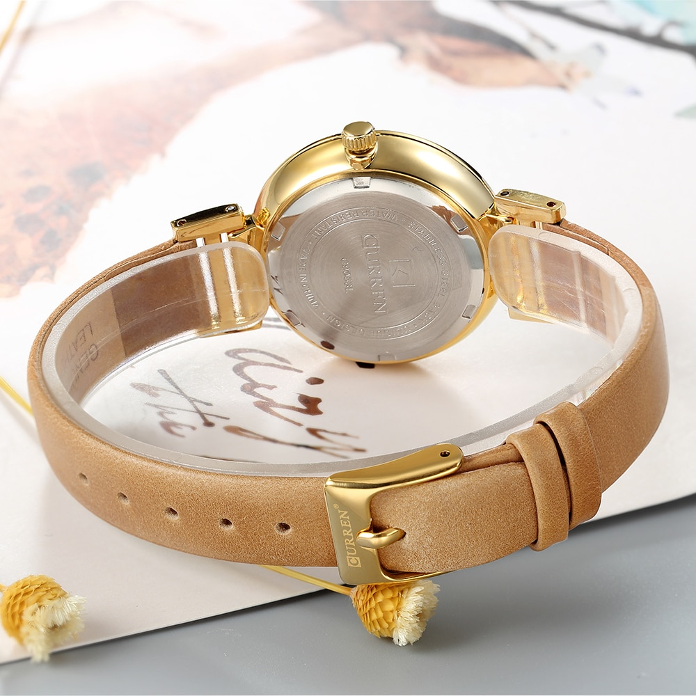 CURREN New Arrival Women Watch Flower Butterfly Bohemia Quartz Lady Golden Leather Band Quality Female Watches Clock Reloj Mujer enlarge