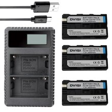 DVISI – chargeur double USB LCD, 3 pièces, NP-F550 NP-F570 F570, pour Sony CCD-SC5 CCD-SC100 CCD-TR910 DCR-TRV315 DCR-VX2000 MVC-FD95