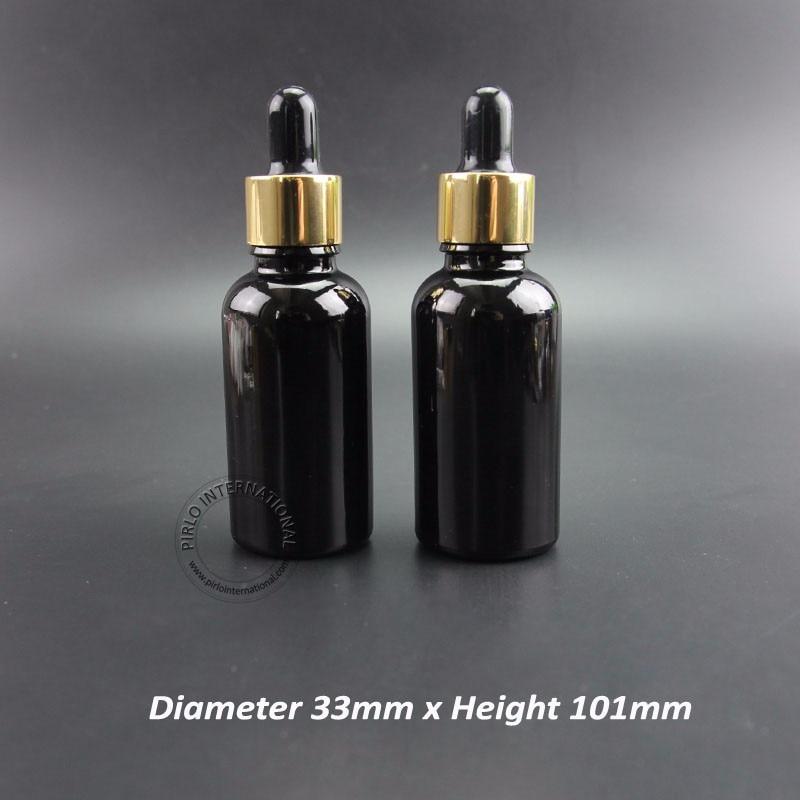 30 قطعة/الوحدة تعزيز 30 مللي زجاجة الزيت العطري أسود الزجاج بالقطارة الحاويات النساء فارغة التجميل جرة إعادة الملء 1oz مربع