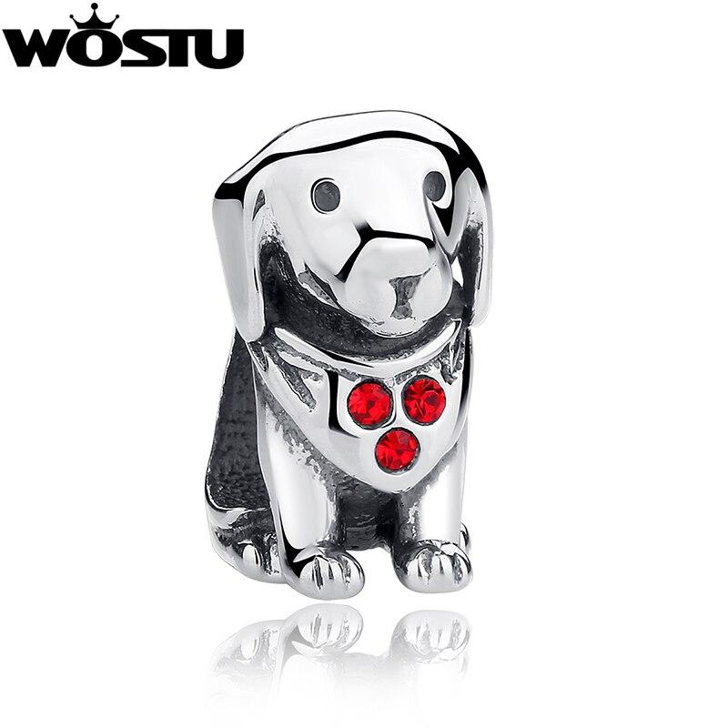 Cuentas de plata de ley 925 con diseño de perro Labrador bonito Ajuste Original WST pulsera joyas auténticas DIY regalo CQC016