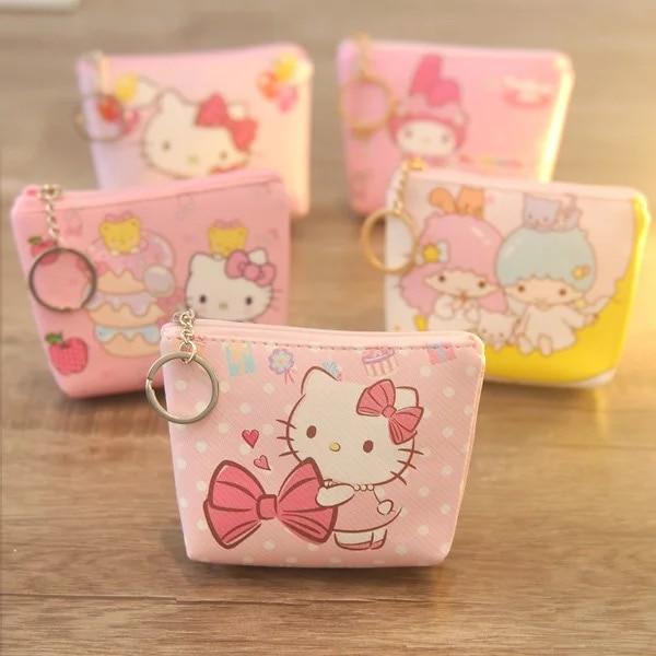 Random Delivery!Kawaii Mini Hello Kitty Coin Purse My Melody Gemini Little Twin Star Wallet Pouch PU Case Bag Key Bags B61