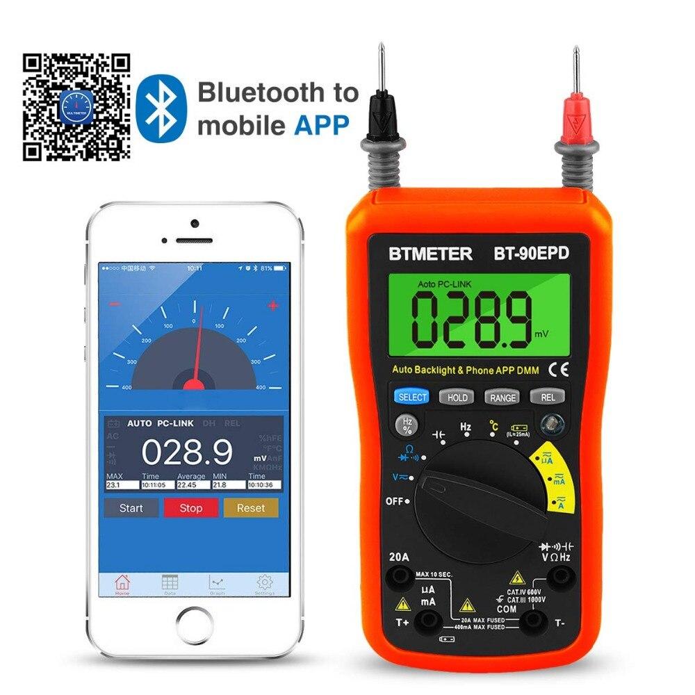 Multimeter BT-90EPD Auto Range DMM 4000 Counts With Mobile phone APP Bluetooth,AC,DC Voltage Current Auto Backlight