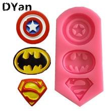 DIY Nieuwe Captain America Superman Batman Markering Chocolade Accessoires Cake Silicone Mold Bakken Tools A1339