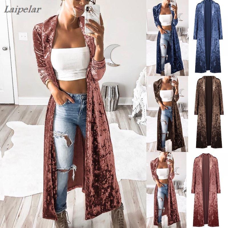Women Slim Fit Long Sleeve Open Front Velvet Coat Long Maxi Casual Cardigan Coat  Laipelar