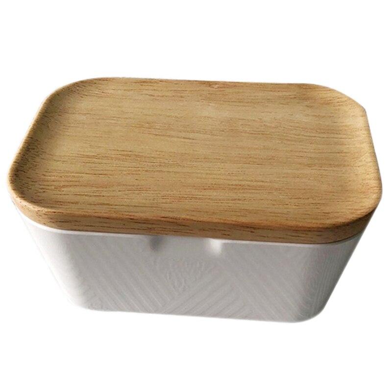 Recipiente de la caja de la mantequilla del plato de la mantequilla del esmalte con la herramienta de madera útil de la cubierta del hogar, caja de almacenamiento de 250ml Multi-función de conservación