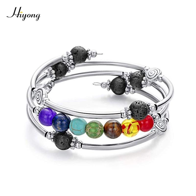 7 mala de chakra Bead pulsera envolvente hecha a mano alambre Wrap Lava Rock turquesa Ojo de Tigre cristal Yoga brazalete pulsera regalos para las mujeres