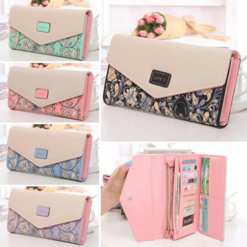 Hot Women Lady Envelope PU Leather Wallet Floral Print Fashion Ladies Card Button Clutch Purse Long Handbag Bag