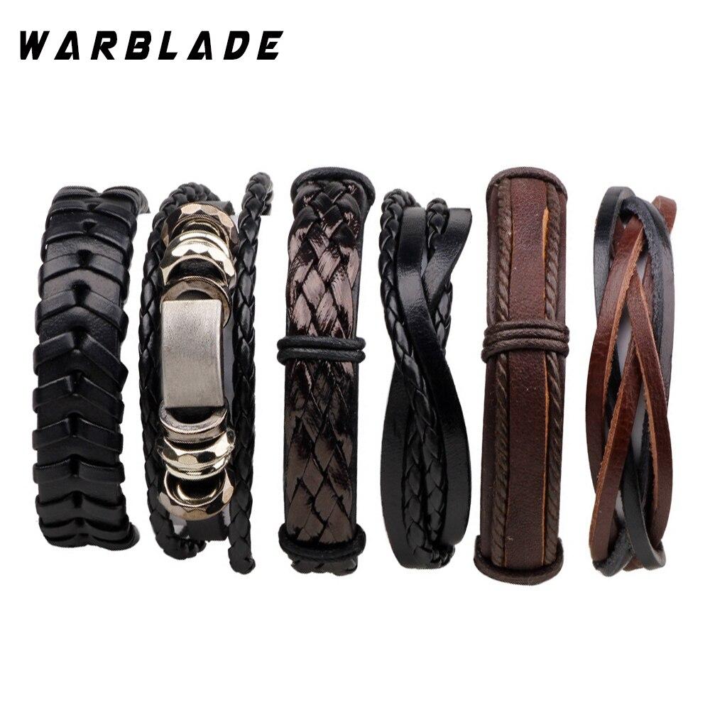 6 unids/set Punk Wrap pulsera de cuero genuino pulsera hombres Vintage encanto multicapa trenzada pulsera brazalete masculino joyería WBL