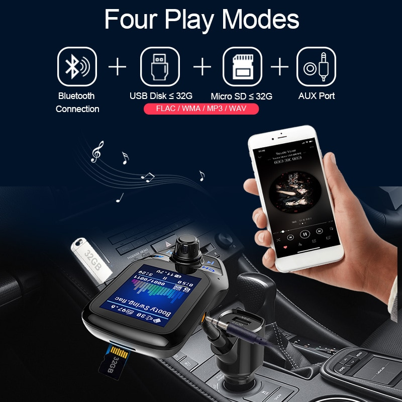 Купить с кэшбэком CDEN Car mp3 color large screen 1.8 inch U disk music player Bluetooth receiver fm transmitter QC3.0 fast charge car charger