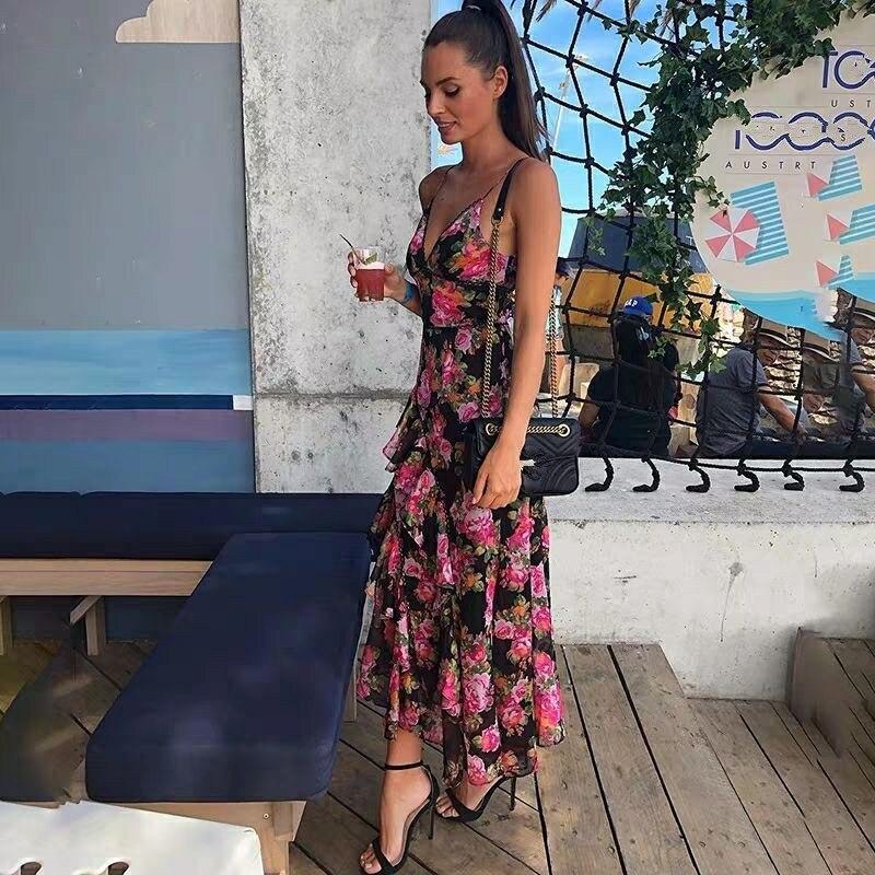 Vestido largo playero asimétrico sexi con escote en V, talle definido, Vintage, a la moda de verano 2019 para vacaciones