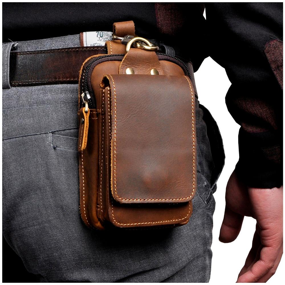 "Fashion Quality Leather Small Summer Pouch Hook Design Waist Pack Bag Cigarette Case 6"" Phone Pouch Waist Belt Bag 1609"