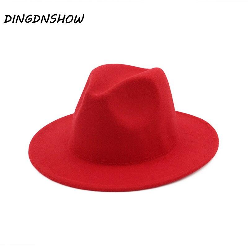 [DINGDNSHOW] sombrero Fedora de moda de lana de ala ancha gorro cálido para invierno Color fieltro sombreros para mujeres 2019 Vintage