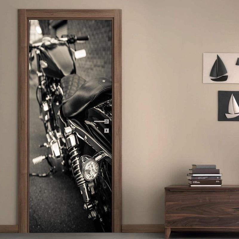 Pegatina de Calcomanía artesanal de manualidades para puerta del hogar, motocicleta 3D, decoración autoadhesiva, renovación, papel tapiz de PVC, estampado pintura para sala de estar