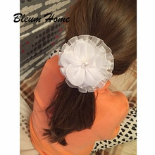 Bleum Home 2pcs Russian students present white Flowers Elastic Hair band Girls Headbands Children Headwear Hair Accessories