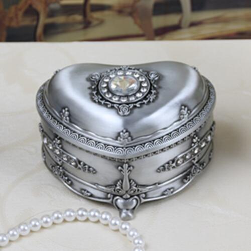 Tamaño M Vintage decoración del hogar de moda corazón/Forma ovalada caja de joyería de Metal COLLAR COLGANTE anillo regalo almacenamiento pecho regalo de cumpleaños