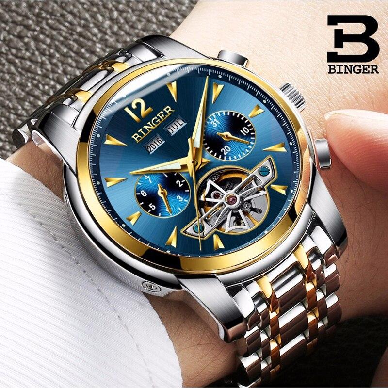 BINGER Watches Men Full Calendar Tourbillon Sapphire Multiple Functions Waterproof Blue gold Mechanical Wristwatches