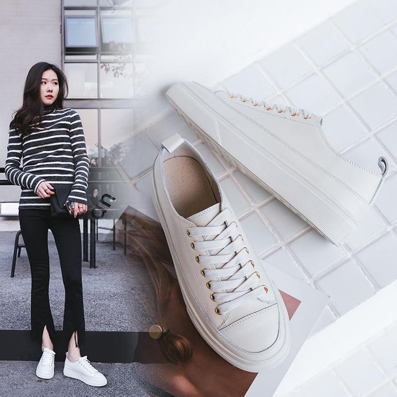 VANGULL حقيقية أحذية من الجلد 2021 الخريف جلد البقر مسطحة القاع المتسكعون حذاء أبيض ladie أحذية رياضية أحذية مفلكنة