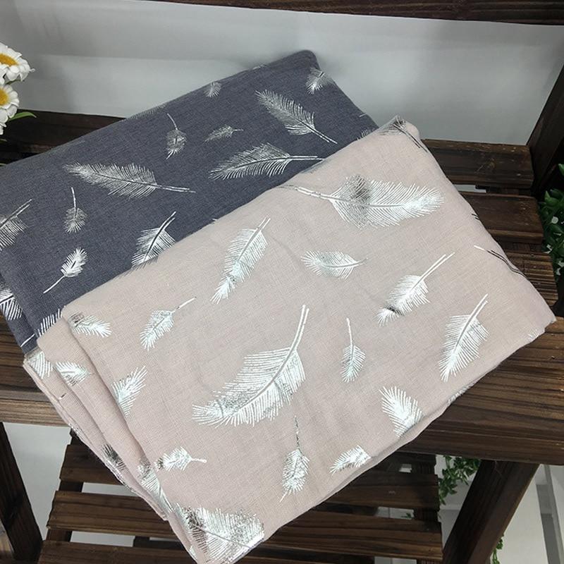 Bufanda larga de algodón de diseño de marca, hijab, diadema para mujer a la moda, chal plateado con estampado de plumas, bufandas para mujer