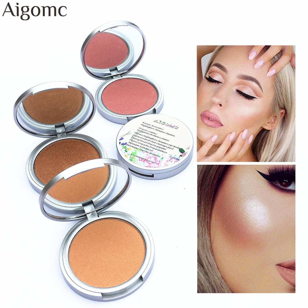 Aigomc Brand Face Highlighter Powder Palette Makeup Shimmer Highlight Make Up Powder Cosmetics