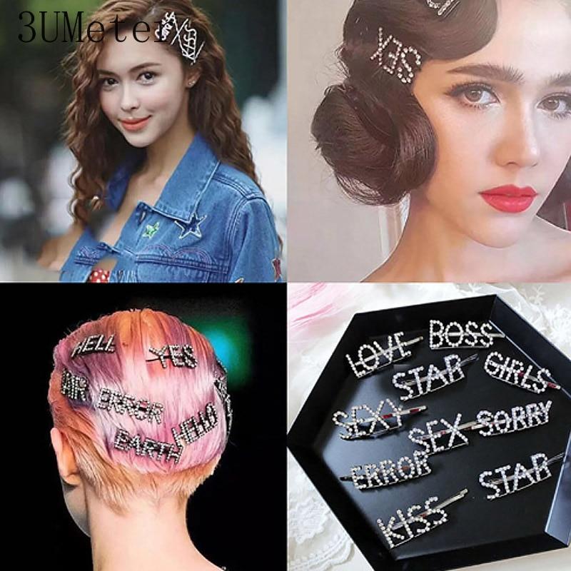 Barrettes de letra de diamante de cristal hecho a mano de moda de 3 UMeter, diseño para mujeres niñas, horquillas, Clip, horquilla accesorios para el cabello, regalo