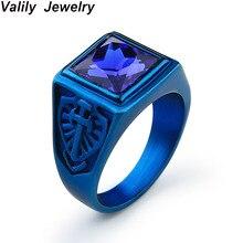 Valily Men's Blue Square Ring Stainless Steel Vintage Sword Ring Red/Black/Blue/White Zircon Rings Jewelry for Men women gift