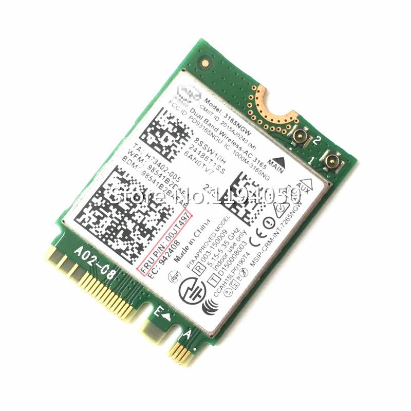 Intel Wireless Dual-band-AC 3165 00JT497 Yoga700 E460 E560 B51-80 3165NGW 802.11AC Bluetooth 4.0 433 Mbps NGFF m.2 Wireless LAN