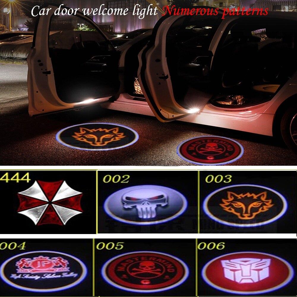 Maxup 2 uds 12V led luces de puerta de coches interiores para todo tipo de lámpara de bienvenida proyector emblema fantasma para fiat 500x SAAB logo láser