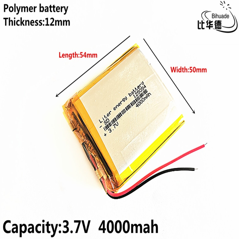 BIHUADE Free Shipping 3.7V 4000mAh 125054 lithium polymer battery MP3 MP4 navigation instruments small toys