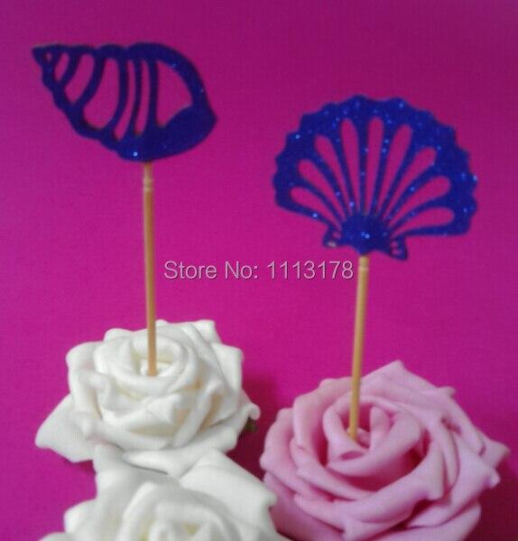 Toppers de Cupcake de brillo azul real-cupcake de ducha nupcial palillos fiesta océano boda Conch cumpleaños cupcake topper