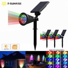 T-SUNRISE 4 Pack LED projecteur solaire extérieur 4 LED lampe solaire IP65 étanche Angle réglable RGB applique murale pour jardin de cour