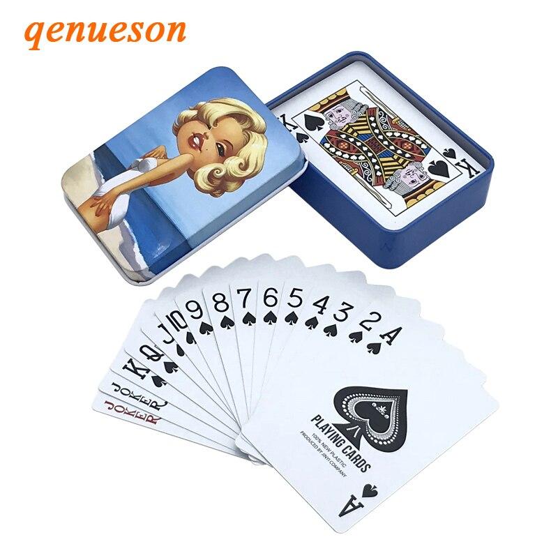 Nueva caja de hojalata de alta calidad PVC Baccarat Texas Hold'em Poker impermeable plástico naipes diseño creativo regalo juego de mesa