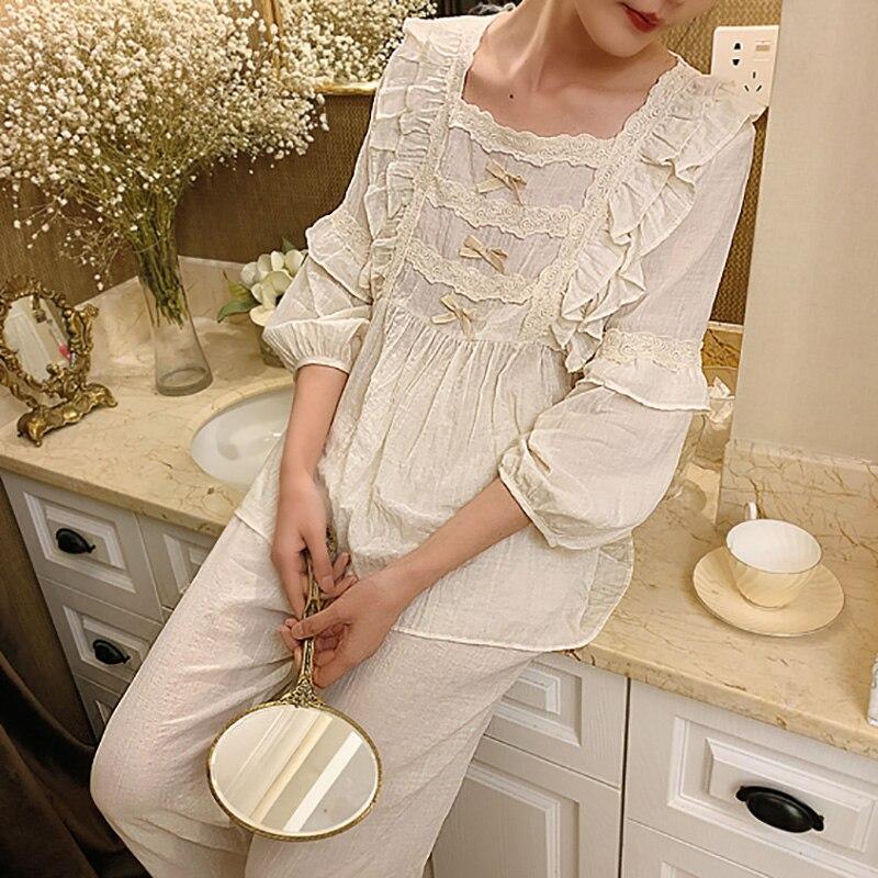 Conjunto de pijama de encaje Lolita para mujer. Bonitas blusas con volantes + Pantalones largos. Conjunto de pijamas de algodón Vintage para mujer. Ropa de dormir Victoriana