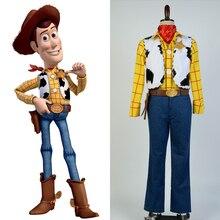 Oyuncak Cosplay hikaye kovboy şerif Woody Cosplay kostüm cadılar bayramı partisi tam Set yetişkin erkekler için